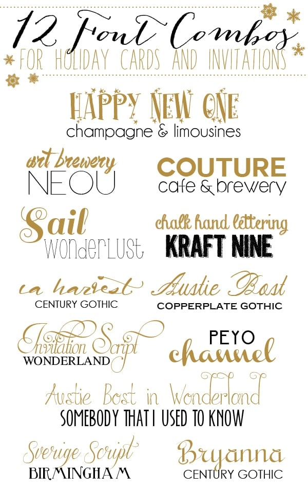 12 Font Combos for Holidays Cards and Invitations - Yellow ...