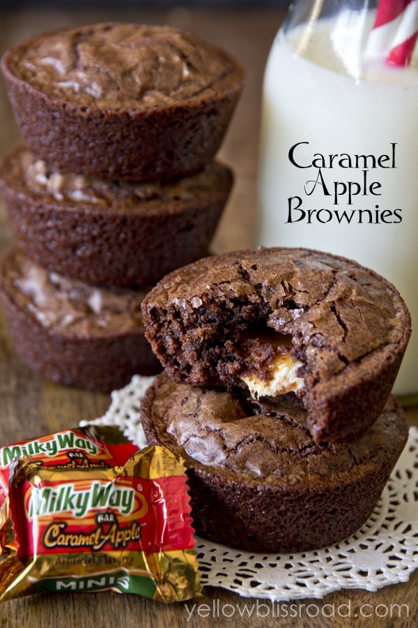 Caramel Apple Brownies - Delicious fudgy brownies with a Milky Way surprise inside