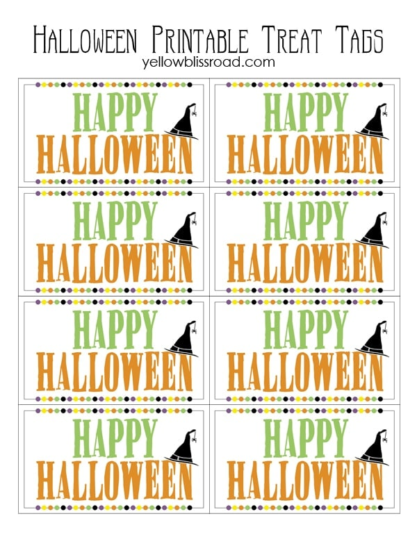 Halloween Treat Tags - A Free Printable! What a cute idea for handing ...