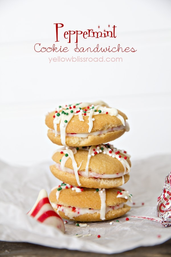 Peppermint Cookie Sandwiches made with Nilla Wafers and Peppermint Kisses! Such an easy Christmas Treat!