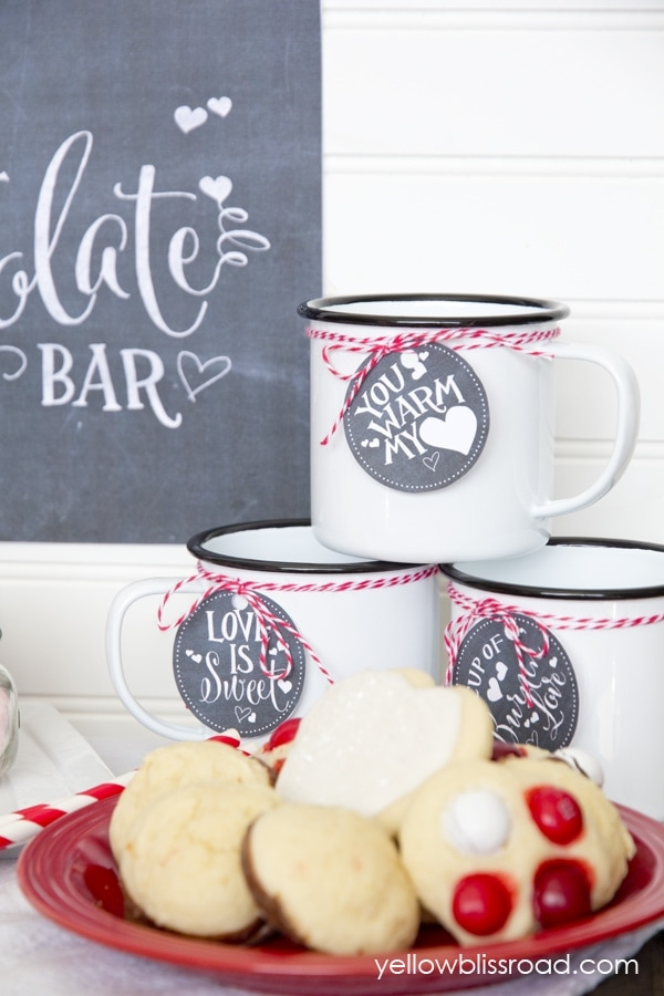 Valentine's Day Hot Chocolate Bar with free printables