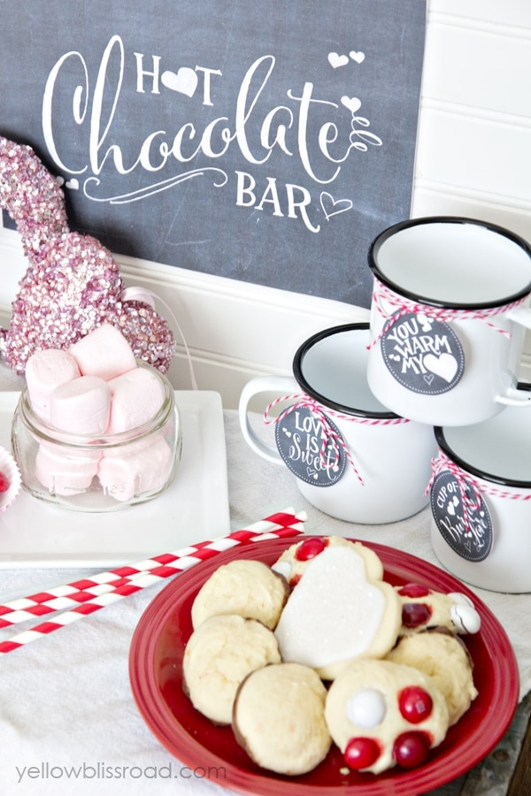 Valentine Hot Chocolate Bar with free printable drink tags and sign
