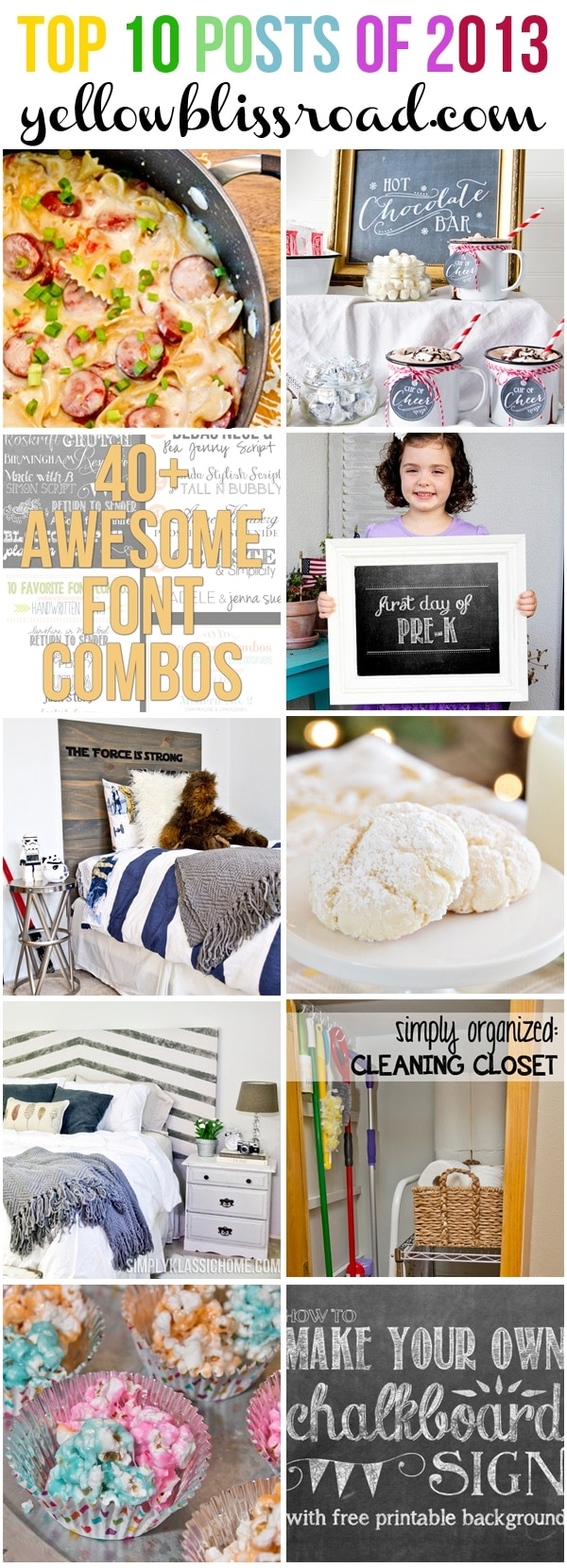 Top Ten Projects, Recipes and Printables from 2013 at Yellow Bliss Road