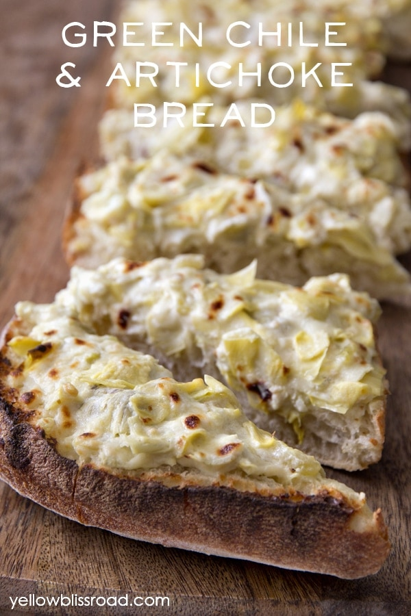 Green Chile & Artichoke Bread - a delicious appetizer and perfect for your next party!