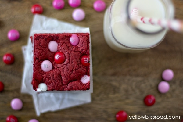 Red Velvet Cake Mix Bars with M & Ms