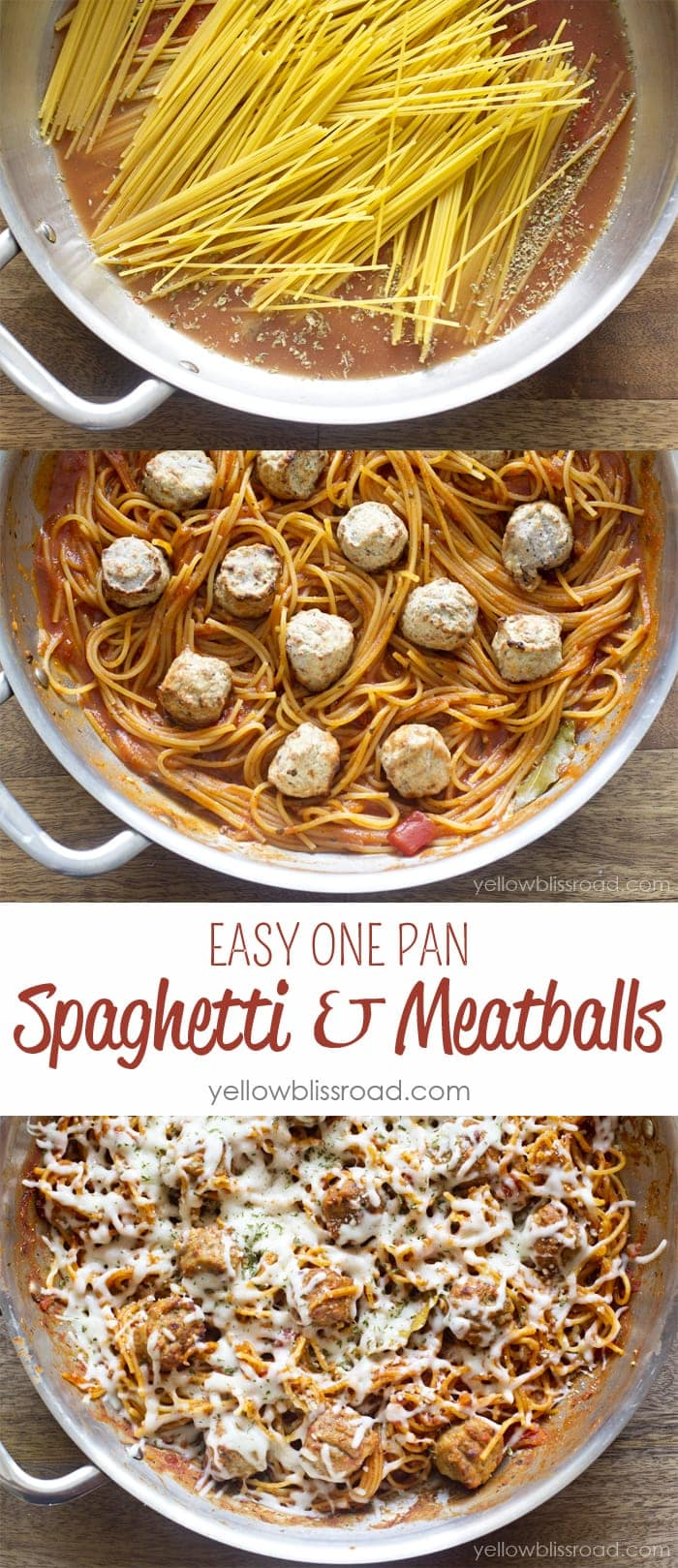 Easy One Pan Spaghetti and Meatballs - A quick and easy one pan version of this family favorite!