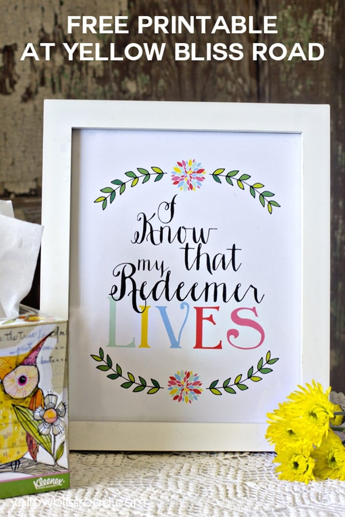 Free Printable My Redeemer Lives