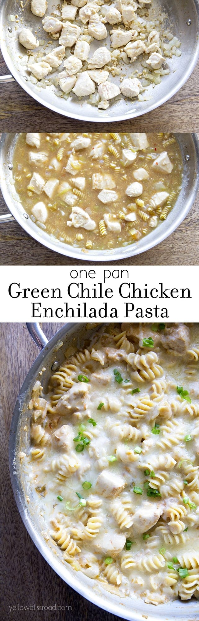 one pan green chilie chicken enchilada pasta collage