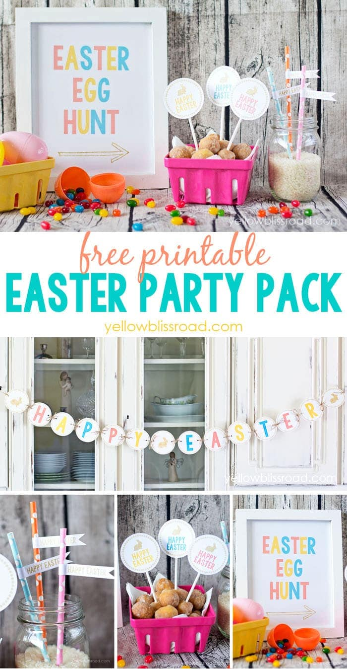 Free Printable Easter Party Pack - bright and colorful printables for your Easter celebrations!