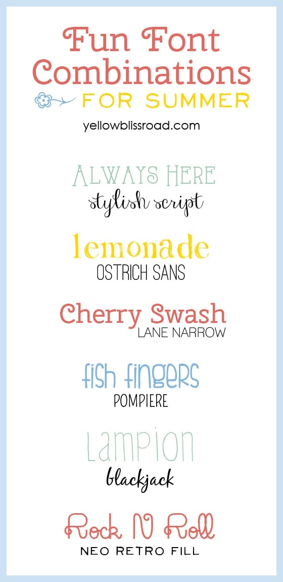 Fun Font Pairings for Summer - Yellow Bliss Road