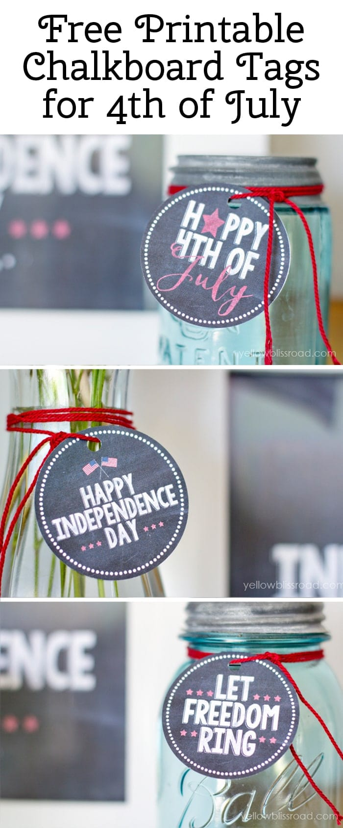 Free Printable Chalkboard tags for 4th of July