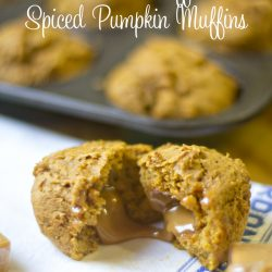 Caramel Stuffed Spiced Pumpkin Muffins - So easy and made with just three indredients