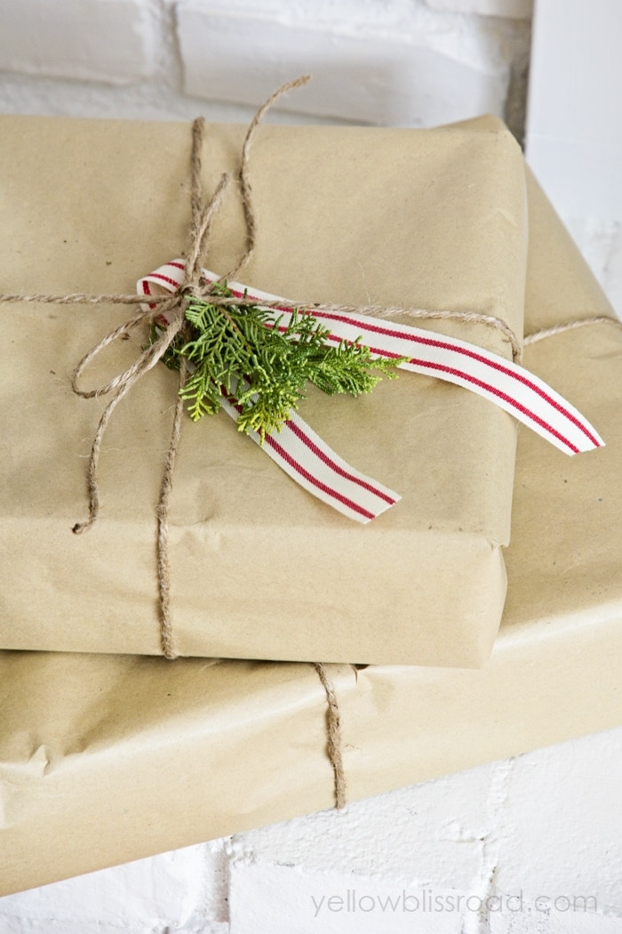 Christmas Home Tour 2014 Yellow Bliss Road : Brown paper packages tied up with string from www.yellowblissroad.com size 700 x 1050 jpeg 463kB