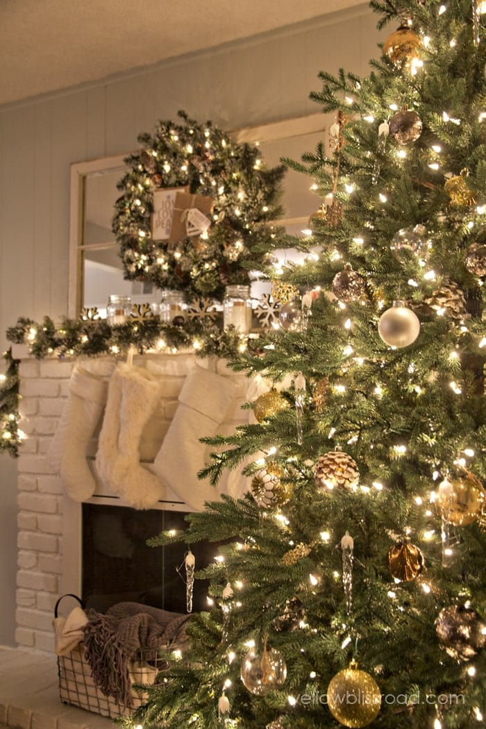 Christmas tree at night for Vintage rustic christmas decorations