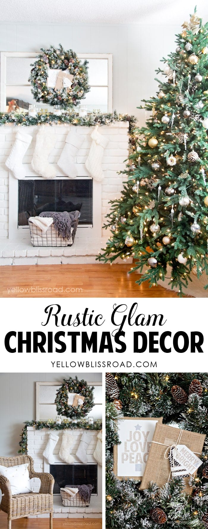 Gorgeous rustic glam christmas decor tree and