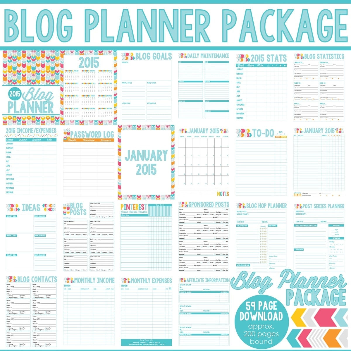 ALL NEW ~ 2016 Blog Planners, Day Planners and Menu