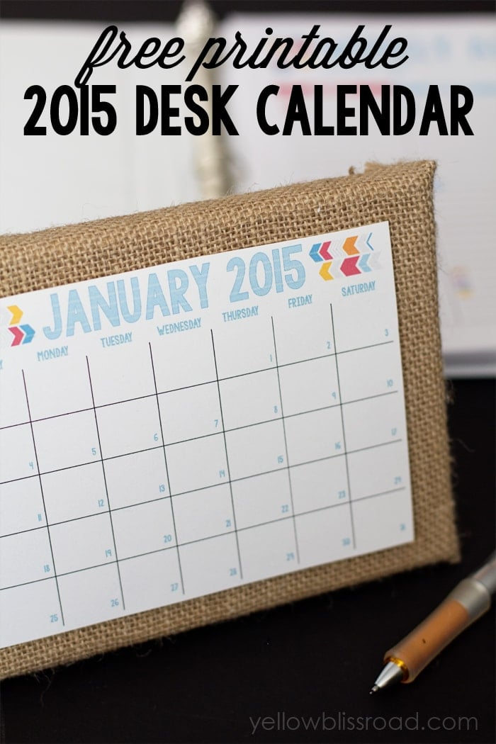 Desk Calendar Planner : Planner daily and menu yellow