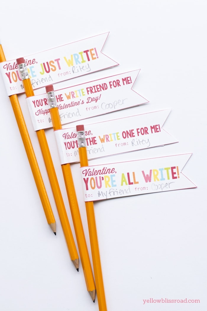 Free Printable Pencil Valentines - Yellow Bliss Road