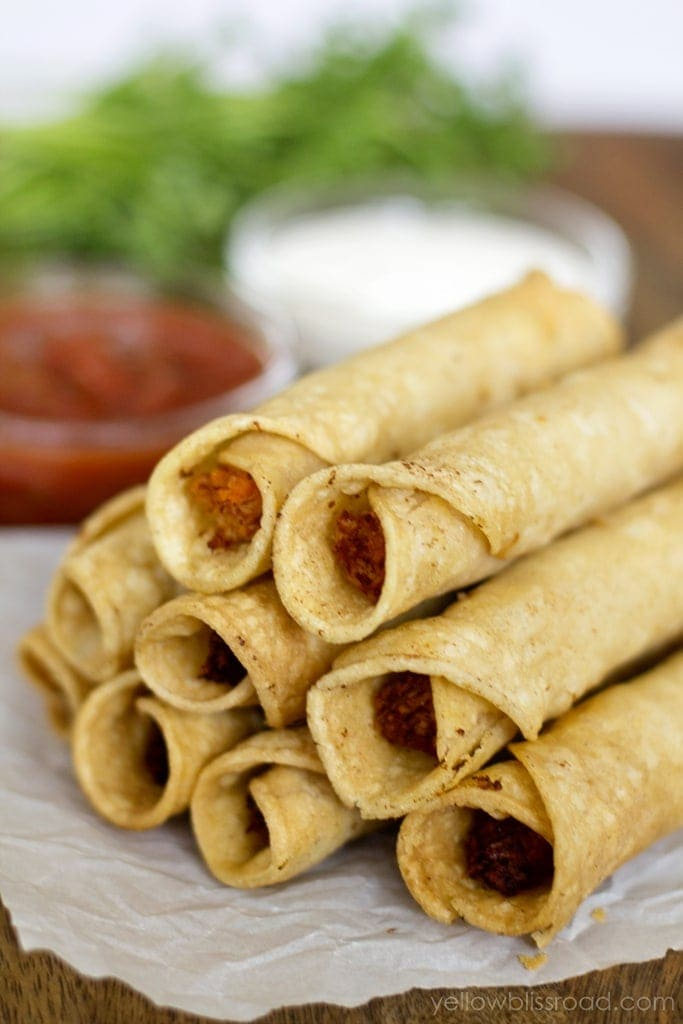 Ground Beef, Black Bean, And Cheddar Cheese Taquitos ...