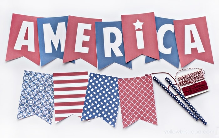 Free Patriotic Banner. Celebrate Fourth of July and Memorial Day with these printable banner. Just print, cut and you have INSTANT decor!