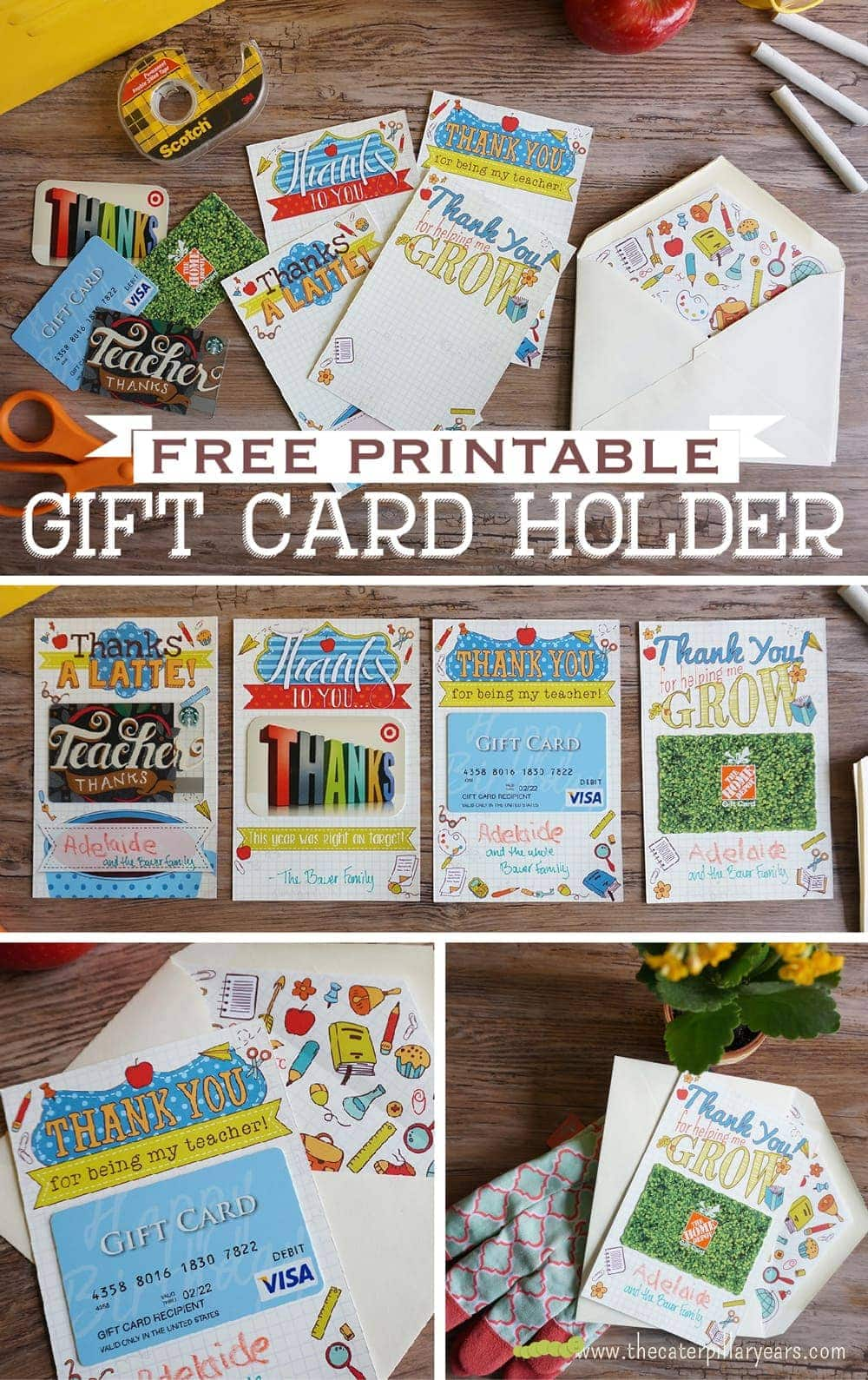 Free Printable Gift Card Holder for Teachers! Great end-of-year gift ...