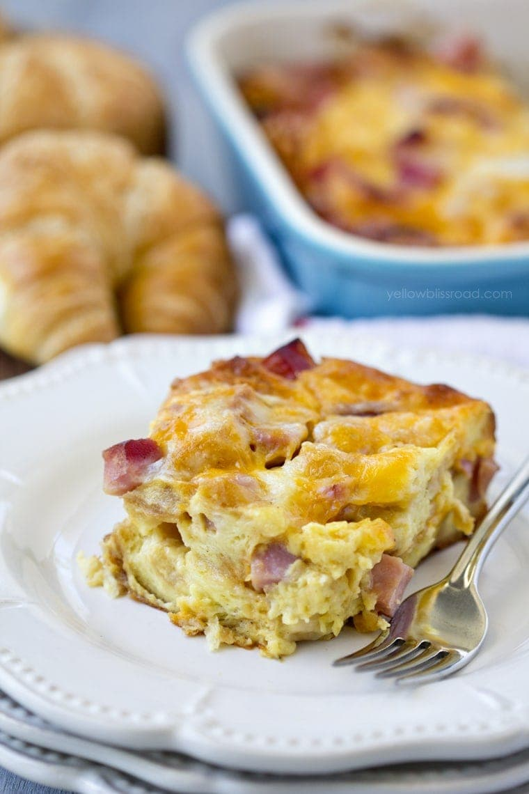 Ham and Cheese Croissant Breakfast Casserole - Yellow ...