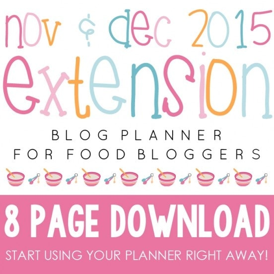 2015 Extension Blog Planner for Food Bloggers