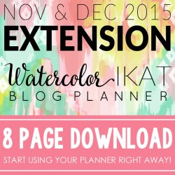2015 Extension Watercolor Ikat Blog Planner