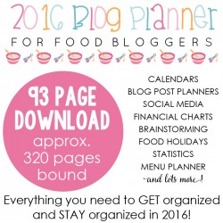 2016 Blog Planner for Food Bloggers