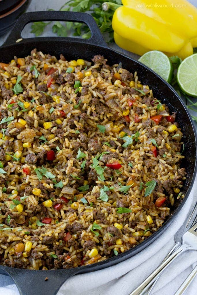 This Tex-Mex Beef & Rice Skillet is quick and easy enough for a ...