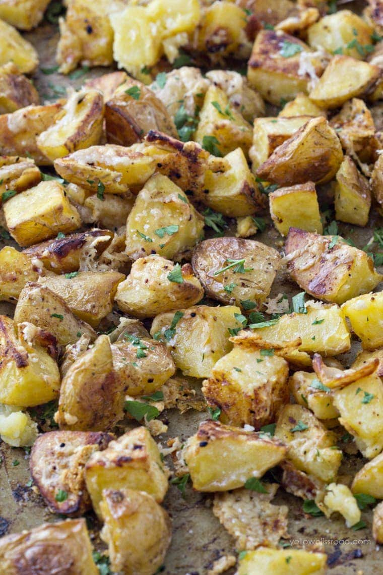 Oven Roasted Parmesan Garlic Potatoes - Yellow Bliss Road