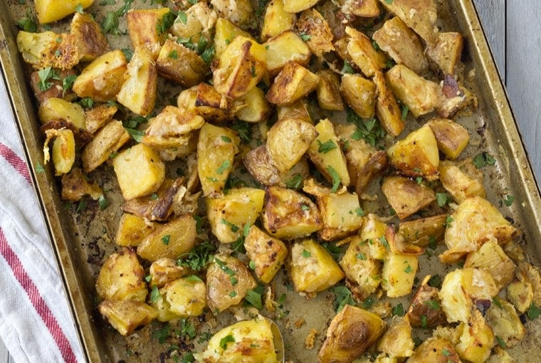 Oven Roasted Parmesan Garlic Potatoes