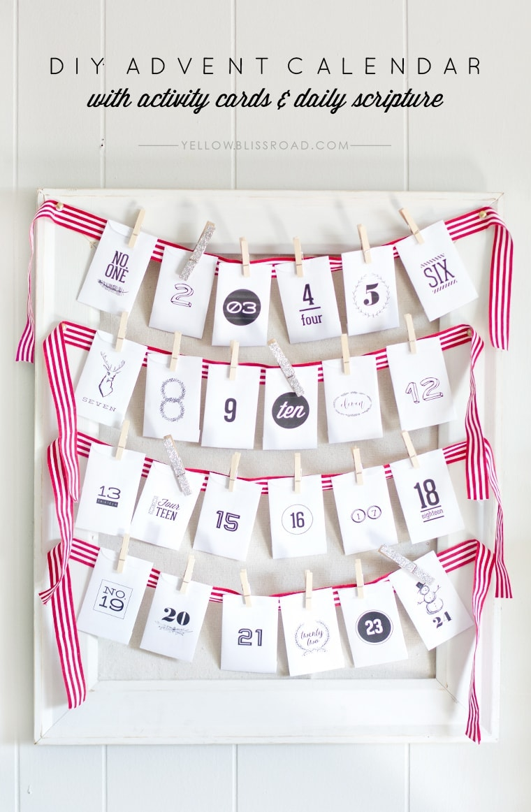 DIY Advent Calendar with Activities and Scripture - Yellow Bliss Road