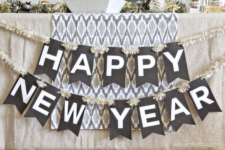 Monster image within happy new years banner printable