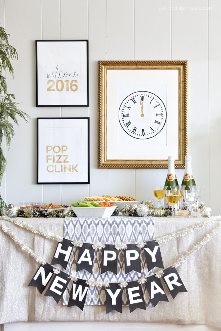 New Year 39 S Eve Printable Set Yellow Bliss Road